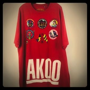 AKOO Men's 4XL Red Cotton Graphic T-Shirt 1980